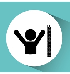 Person and measuring tape vector