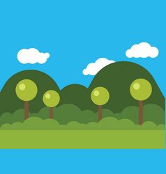 Picture of nature with trees and mounds vector