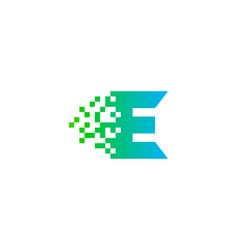 pixel letter e logo icon design vector image