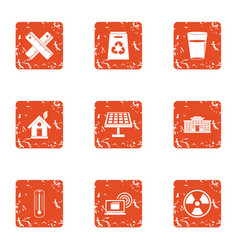 pollution icons set grunge style vector image
