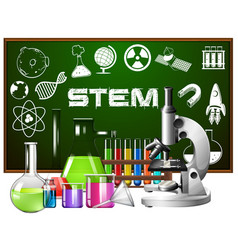 Poster design for stem education with science vector