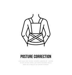 Posture correction icon line logo flat sign for vector