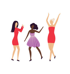 Pretty girls having hen-party disco club isolated vector