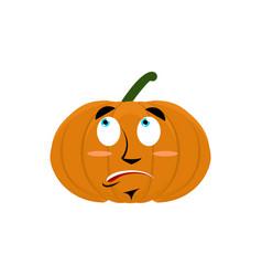 pumpkin surprised emoji halloween vegetable vector image