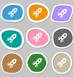 Rocket icon symbols Multicolored paper stickers vector image