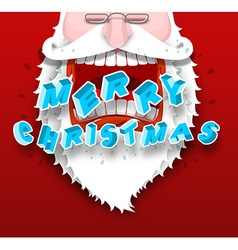 Santa claus yelling merry christmas joyful vector
