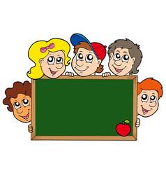 School blackboard with children vector