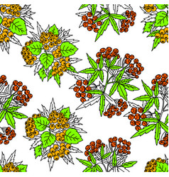 seamless autumn pattern with red and orange vector image
