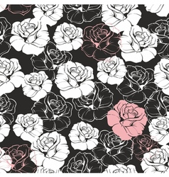 Seamless dark floral pattern with white roses vector