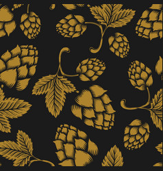 seamless pattern with vintage beer hop design vector image