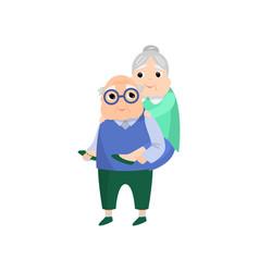 senior old woman jump at her husband back vector image