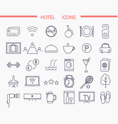 set modern thin line icons for hotel services vector image