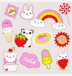 set of cute stickers in kawaii style vector image