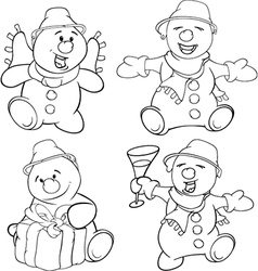 Set of funny Christmas snowman vector