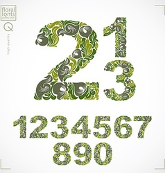 Set ornate numbers flower-patterned numeration vector