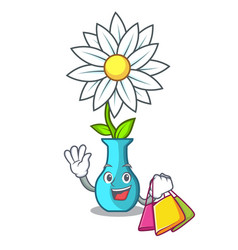 shopping character cartoon glass vase with flowers vector image