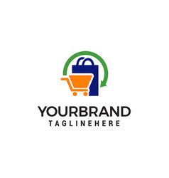 shopping logo design concept template vector image