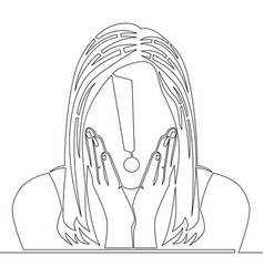 single line shocked woman with exclamation mark vector image