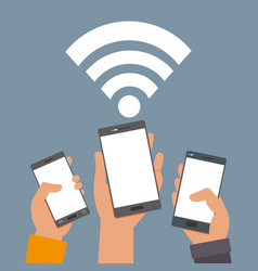 Smartphones technology in the hands with wifi vector