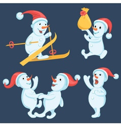 Snowmen in different actions cartoon set vector image