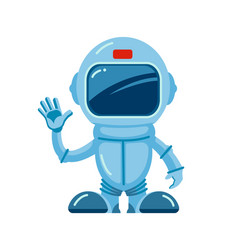 spaceman pointing hello cartoon astronaut in blue vector image