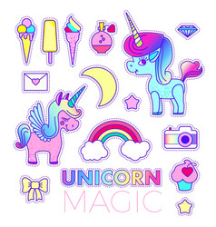 Stickers set with unicorn rainbow star diamond vector