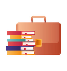 Suitcase with stack books isolated icon vector