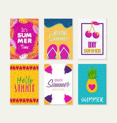 summer greeting card design set vacation season vector image