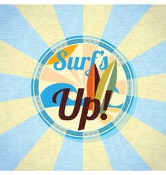 Summer surfing retro background vector image