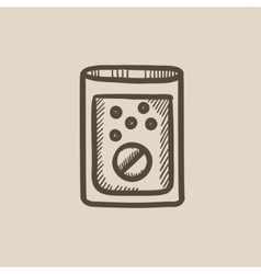 Tablet into glass of water sketch icon vector