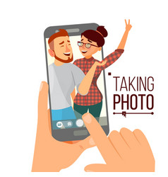 taking photo on smartphone smiling people vector image