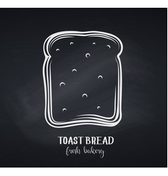 Toast bread slice chalkboard style vector