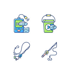 tools for fishing rgb color icons set vector image