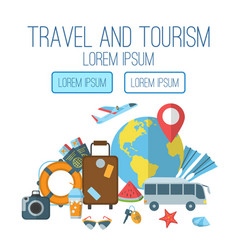 Travel and tourism flat poster vector