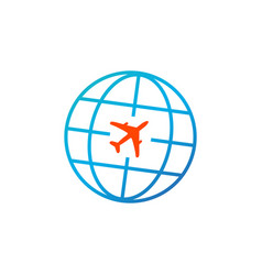 travel icon globe with plane icon isolated on vector image