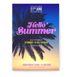 tropical beach party flyer hello summer beach vector image