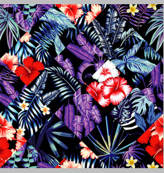 tropical floral patchwork trendy seamless vector image
