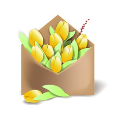 tulips of yellow color in the paper envelope with vector image