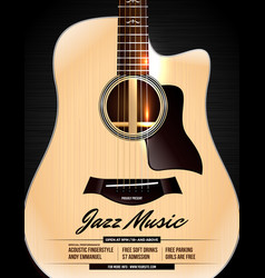 Unplugged acoustic guitar jazz concert poster vector