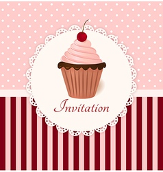 Vintage invitation card with cherry cream cake vector image