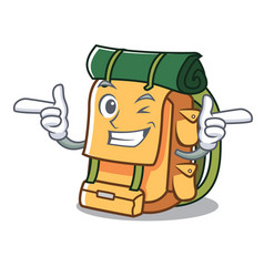 wink backpack character cartoon style vector image