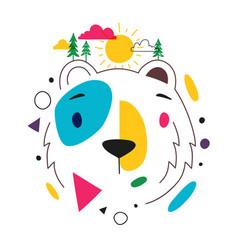 with abstract colored bear head green pine trees vector image