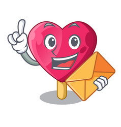 with envelope heart character ice cream on candy vector image