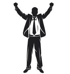 businessman with arms up celebrating vector image vector image