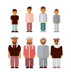 flat arabic boys and men isolated on white vector image