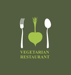 Logo for vegetarian restaurants or cafes Cutlery vector image vector image