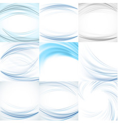 set of abstract blue backgrounds vector image