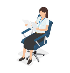woman sitting in chair and looking on two paper vector image vector image