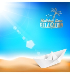 Beautiful background with a summer sea and ship vector image vector image