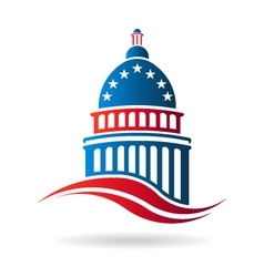 Capitol building in red white and blue vector image vector image